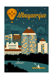 Albuquerque, New Mexico - Retro Skyline Art by  Lantern Press
