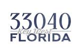 Key West, Florida - 33040 Zip Code (Blue) Art by  Lantern Press