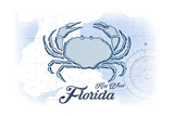 Key West, Florida - Crab - Blue - Coastal Icon Posters by  Lantern Press