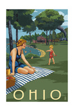 Ohio - Lake and Picnic Scene Prints by  Lantern Press
