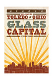 Toledo, Ohio - Skyline and Sunburst Screenprint Style Posters by  Lantern Press