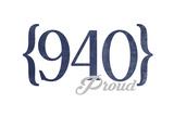 Wichita Falls, Texas - 940 Area Code (Blue) Prints by  Lantern Press