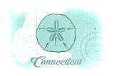 Connecticut - Sand Dollar - Teal - Coastal Icon Poster by  Lantern Press