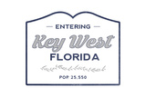 Key West, Florida - Now Entering (Blue) Posters by  Lantern Press