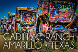 Amarillo, Texas - Cadillac Ranch Art by  Lantern Press