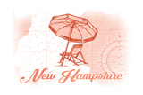New Hampshire - Beach Chair and Umbrella - Coral - Coastal Icon Posters by  Lantern Press