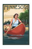 Minnesota - Canoers on Lake Poster by  Lantern Press
