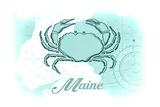 Maine - Crab - Teal - Coastal Icon Art by  Lantern Press