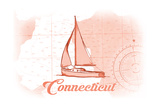 Connecticut - Sailboat - Coral - Coastal Icon Posters by  Lantern Press
