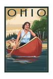 Ohio - Canoers on Lake Prints by  Lantern Press