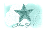 New York - Starfish - Teal - Coastal Icon Prints by  Lantern Press
