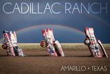 Amarillo, Texas - Cadillac Ranch - Double Rainbow Posters by  Lantern Press