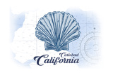 Carlsbad, California - Scallop Shell - Blue - Coastal Icon Posters by  Lantern Press