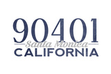 Santa Monica, California - 90401 Zip Code (Blue) Posters by  Lantern Press