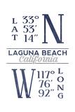 Laguna Beach, California - Latitude and Longitude (Blue) Prints by  Lantern Press