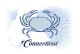 Connecticut - Crab - Blue - Coastal Icon Prints by  Lantern Press