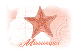 Mississippi - Starfish - Coral - Coastal Icon Posters by  Lantern Press