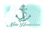 New Hampshire - Anchor - Teal - Coastal Icon Prints by  Lantern Press
