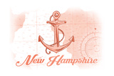 New Hampshire - Anchor - Coral - Coastal Icon Posters by  Lantern Press