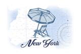 New York - Beach Chair and Umbrella - Blue - Coastal Icon Prints by  Lantern Press