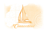 Connecticut - Sailboat - Yellow - Coastal Icon Posters by  Lantern Press