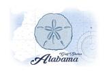 Gulf Shores, Alabama - Sand Dollar - Blue - Coastal Icon Prints by  Lantern Press