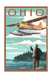 Ohio - Float Plane and Fisherman Posters by  Lantern Press