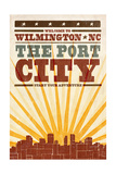 Wilmington, North Carolina - Skyline and Sunburst Screenprint Style Posters by  Lantern Press