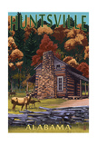 Huntsville, Alabama - Deer Family and Cabin Scene Posters by  Lantern Press