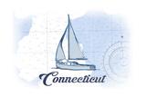 Connecticut - Sailboat - Blue - Coastal Icon Prints by  Lantern Press