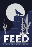 News Feed (Coyote Howling) - Discover the Parks Prints by  Lantern Press
