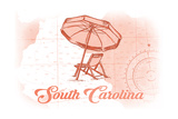 South Carolina - Beach Chair and Umbrella - Coral - Coastal Icon Prints by  Lantern Press