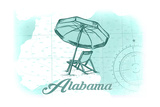 Alabama - Beach Chair and Umbrella - Teal - Coastal Icon Posters by  Lantern Press