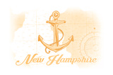New Hampshire - Anchor - Yellow - Coastal Icon Posters by  Lantern Press