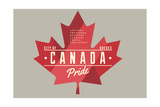 Quebec, Canada Pride - Red Maple Leaf Typography Prints by  Lantern Press