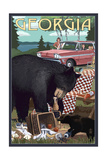 Georgia - Bear and Picnic Scene Art by  Lantern Press