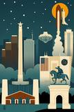 Houston, Texas - Retro Skyline (no text) Posters by  Lantern Press