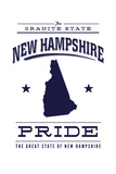 New Hampshire State Pride - Blue on White Print by  Lantern Press