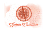 South Carolina - Compass - Coral - Coastal Icon Prints by  Lantern Press