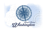 Puget Sound, Washington - Compass - Blue - Coastal Icon Posters by  Lantern Press