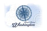 Puget Sound, Washington - Compass - Blue - Coastal Icon Posters by  Lantern Press