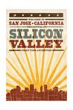 San Jose, California - Skyline and Sunburst Screenprint Style Prints by  Lantern Press