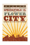 Springfield, Illinois - Skyline and Sunburst Screenprint Style Prints by  Lantern Press