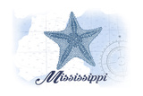 Mississippi - Starfish - Blue - Coastal Icon Prints by  Lantern Press