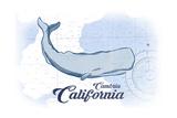 Cambria, California - Whale - Blue - Coastal Icon Posters by  Lantern Press