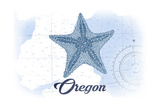 Oregon - Starfish - Blue - Coastal Icon Prints by  Lantern Press