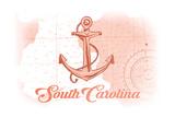 South Carolina - Anchor - Coral - Coastal Icon Prints by  Lantern Press
