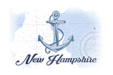 New Hampshire - Anchor - Blue - Coastal Icon Prints by  Lantern Press