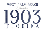 West Palm Beach, Florida - Established Date (Blue) Prints by  Lantern Press