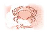 Virginia - Crab - Coral - Coastal Icon Poster by  Lantern Press